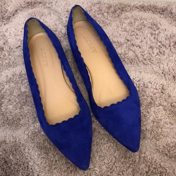 J Crew Royal Blue Scalloped Flat Shoes